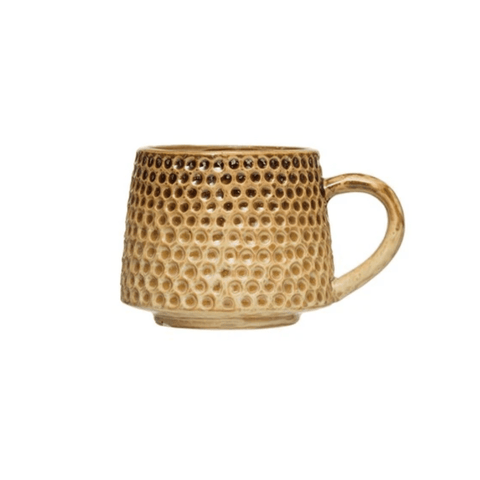 Earthy Brown and Yellow Embossed Mug - Lady of the Lake