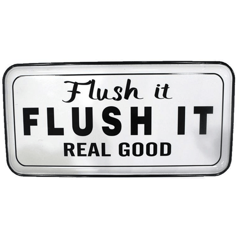 'Flush It' Humorous Enamel Hanging Plaque - Lady of the Lake
