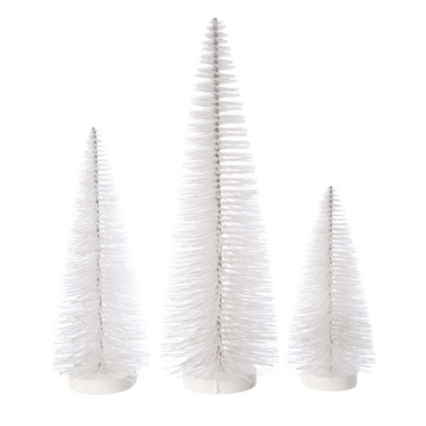 Frosted White Glittered Bristle Table Top Trees - Lady of the Lake