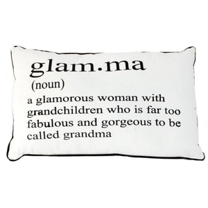 """Glam.ma"" Definition Humorous Accent Cushion in White with Black Detail - Lady of the Lake"