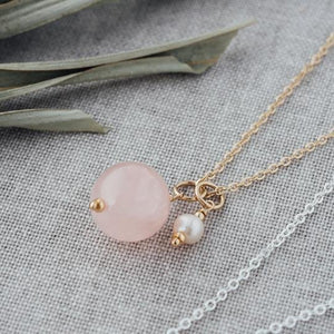 Globe Necklace - Rose Quartz & Pearl - Lady of the Lake