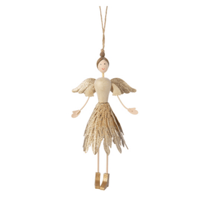 Gold Angel Ornament with Glittered Filigree Skirt - Lady of the Lake