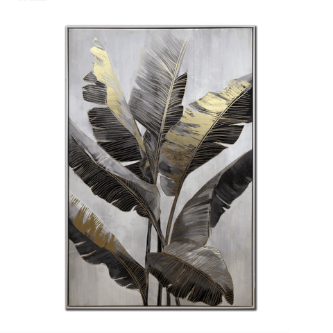 'Golden Palms' Metallic Foiled Canvas Art in Floater Frame - Lady of the Lake