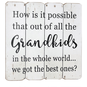 'Grandkids' White Wooden Wall Plaque - Lady of the Lake