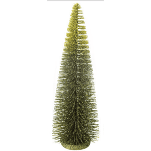 Green Glittered Bristle Table Top Trees - Lady of the Lake