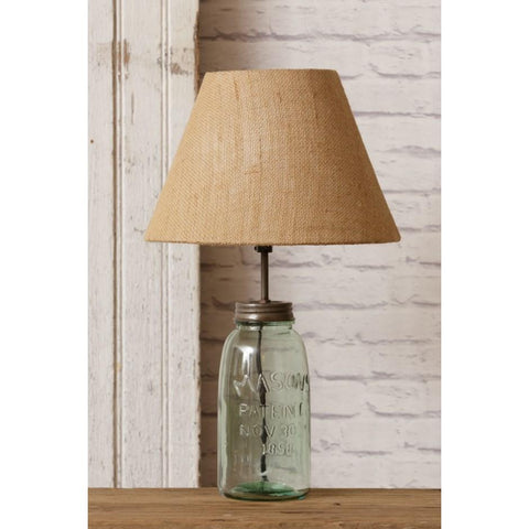Green Mason Jar Lamp With Burlap Shade - Lady of the Lake