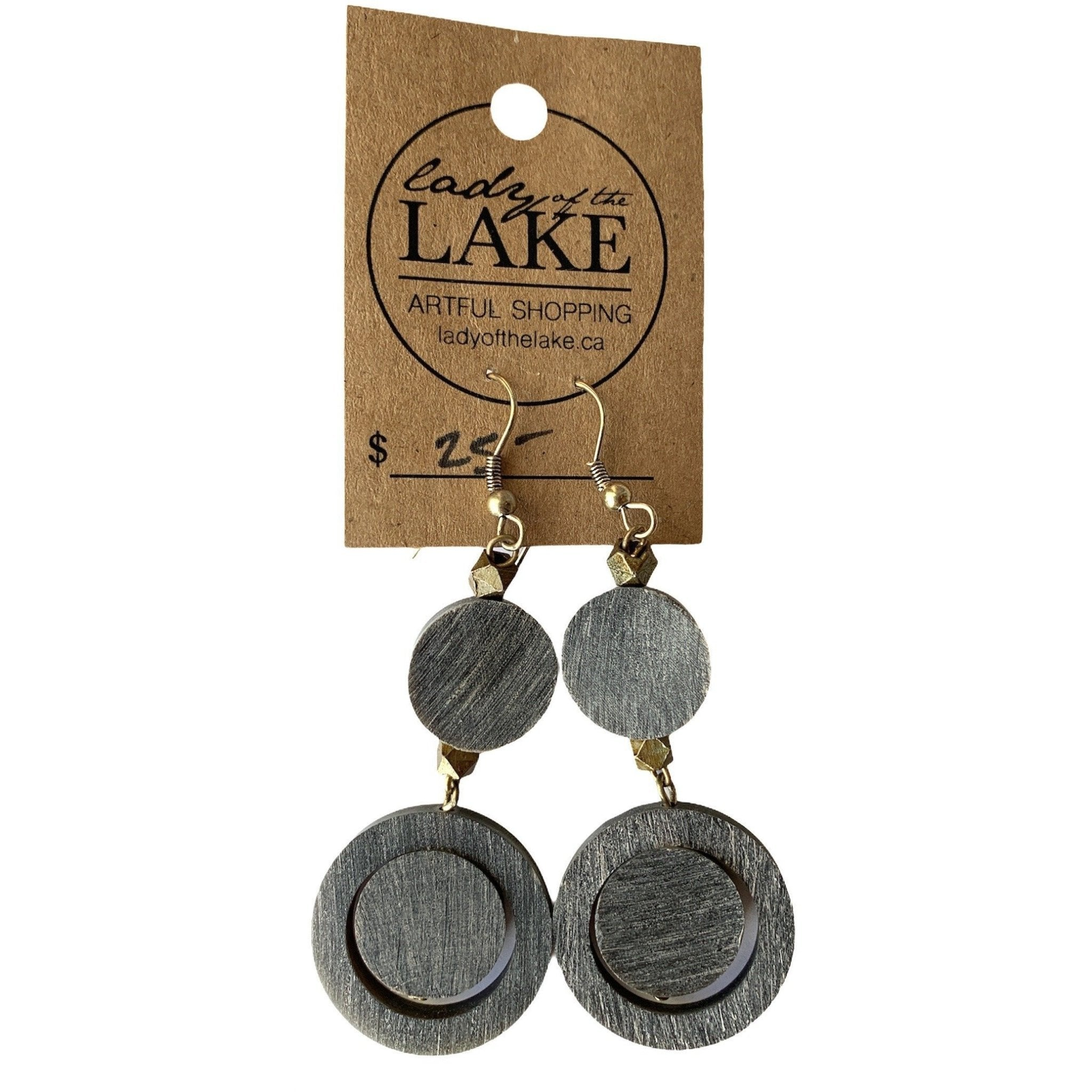 Handcrafted Anju Black Hanging Circle Earrings - Lady of the Lake