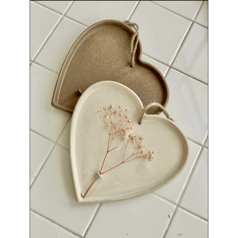 Hanging Stoneware Heart With Dried Flower Holder - Lady of the Lake