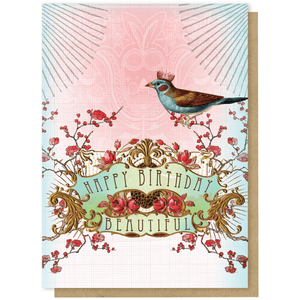 Happy Birthday Beautiful' Greeting Card with Bird, Flowers and Gold Foil Detail - Lady of the Lake