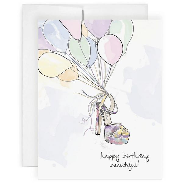 'Happy Birthday Beautiful!' Greeting Card with Handmade Shoe and Balloon Illustration - Lady of the Lake