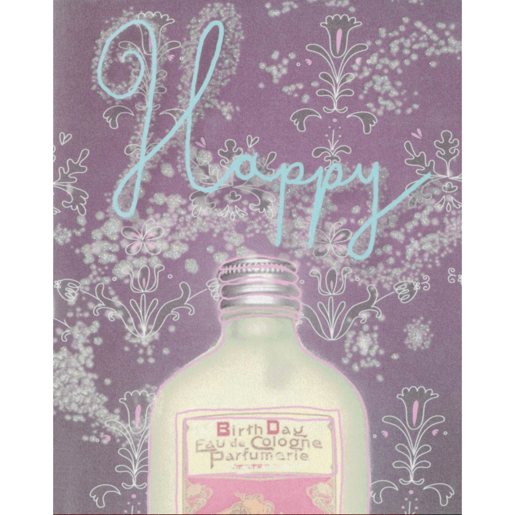 'Happy Birthday' Greeting Card Hand-Illustrated with Vintage Graphics and Glitter - Lady of the Lake