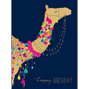 'Happy Birthday' Greeting Card with Fancy Camel Illustration - Lady of the Lake
