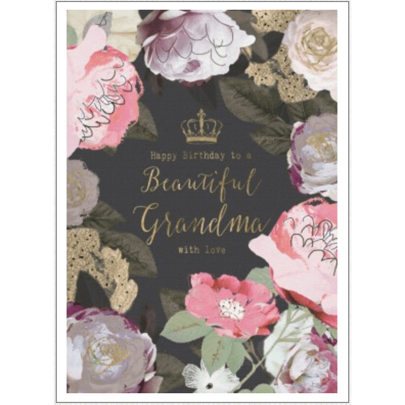 'Happy Birthday to a Beautiful Grandma' Greeting Card with Floral Graphics - Lady of the Lake