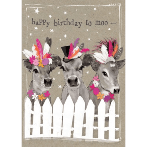 'Happy Birthday to Moo' Cute Cow Birthday Greeting Card - Lady of the Lake