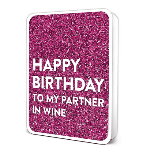 'Happy Birthday to my Partner in Wine' Purple Greeting Card (with Decorated Sticker) - Lady of the Lake