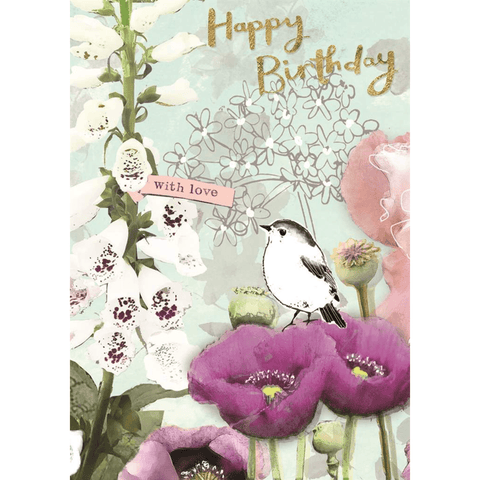 'Happy Birthday With Love' Painted Floral Greeting Card - Lady of the Lake