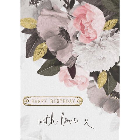 'Happy Birthday with love x' Painted Floral Greeting Card - Lady of the Lake