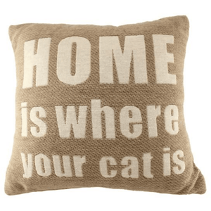 'Home Is Where Your Cat Is' - Sand-Coloured Accent Cushion - Lady of the Lake