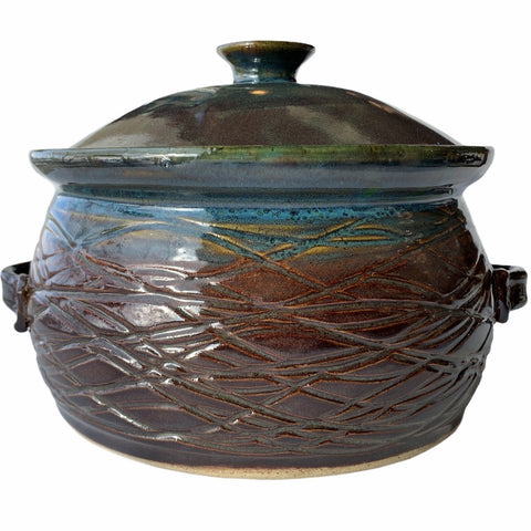 Large Blue Drip Pottery Casserole Dish with Lid - Lady of the Lake