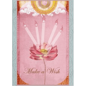 'Make a Wish' Greeting Card with Pink Lotus, Clouds and Glitter Detail - Lady of the Lake