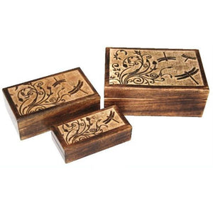 Mango Wood Box - Dragonflies - Lady of the Lake