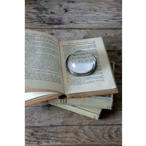 Metal & Glass Paperweight / Magnifying Glass - Lady of the Lake