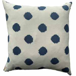 Off White With Blue Polka Dots Pillow - Lady of the Lake
