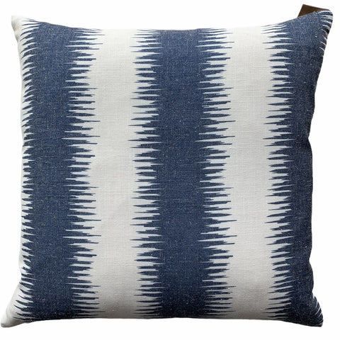 Off White With Blue Sound-wave Pattern Cushion - Lady of the Lake