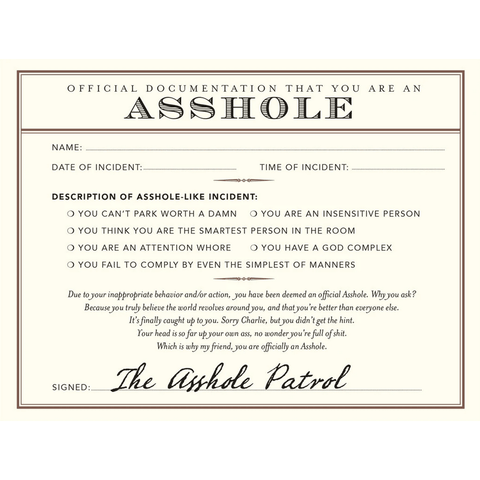 Official A$$hole Documentation - Greeting Card - Humourus - Lady of the Lake