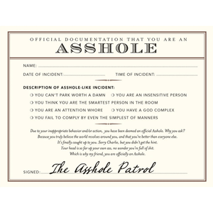 Official A$$hole Documentation - Greeting Card pack of 8 - Humourus - Lady of the Lake