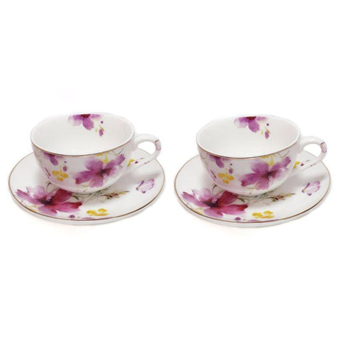 Pink Floral Cup & Saucer - Set of 2 - Lady of the Lake