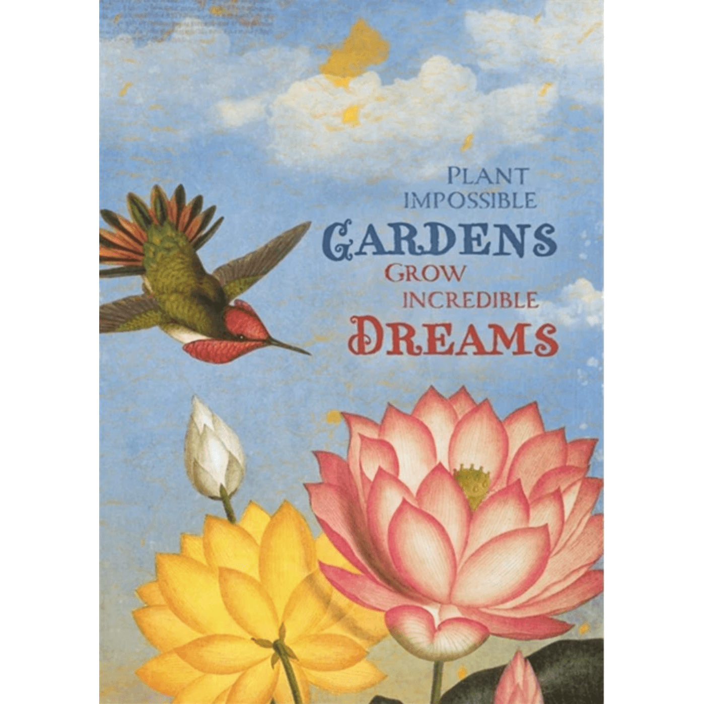'Plant Impossible Gardens' Greeting Card with Hummingbird and Flower Illustrations - Lady of the Lake