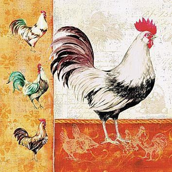 Rooster Family - Paper Napkin - Lady of the Lake