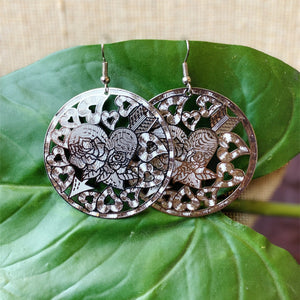 Rose Heart Silver Filigree Earrings - Lady of the Lake