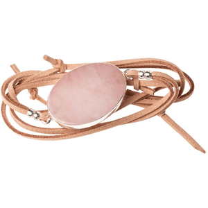 Rose Quartz + Silver - Suede and Stone Necklace/Bracelet Wrap - Lady of the Lake