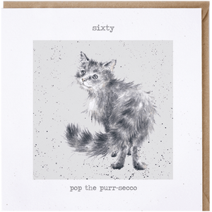'Sixty Pop the Purr-Secco' Charming Greeting Card - Lady of the Lake