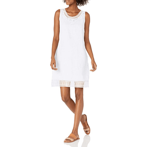 Sleeveless Linen Dress with Lace Detail - Lady of the Lake