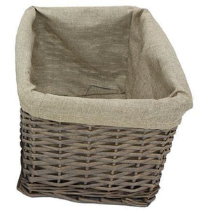 Split Willow Rectangle Basket with Linen Lining - Lady of the Lake