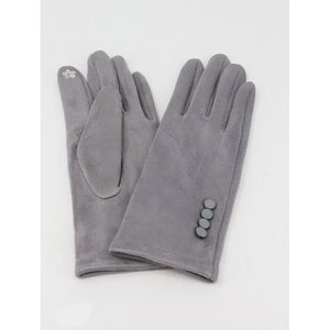 Stitched Button Soft Suede Touch Screen Glove - Lady of the Lake