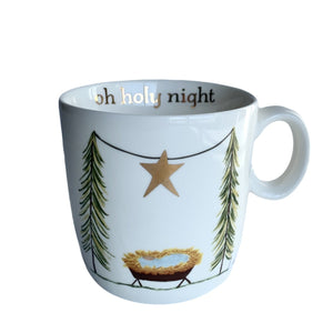 Stoneware Mug with Gold Electroplating 'Oh Holy Night' - Lady of the Lake
