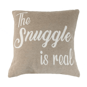 'The Snuggle Is Real' - Beige and White Accent Cushion - Lady of the Lake