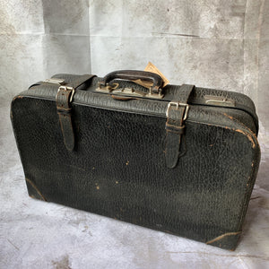 Vintage Black Leather Suitcase - Lady of the Lake