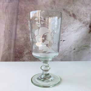 Vintage Etched Pansy Goblet - Lady of the Lake