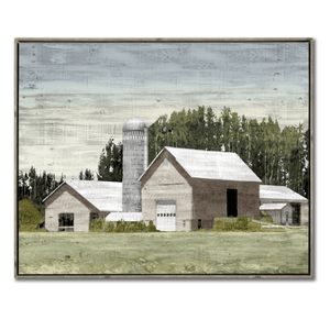 'Western Plains Silo' Hand Embellished Canvas Art in Floater Frame - Lady of the Lake