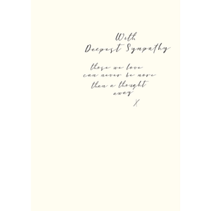 'With Deepest Sympathy' White Greeting Card with Hand-written Script - Lady of the Lake