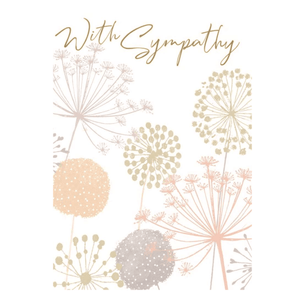 'With Sympathy' Floral Greeting Card with Gold Foil and Gems - Lady of the Lake
