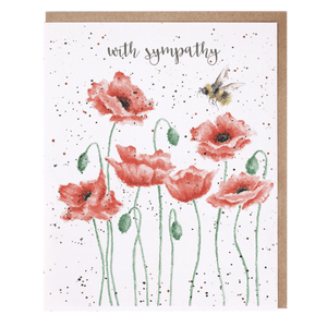 'With Sympathy' Poppy and Bee Greeting Card - Lady of the Lake