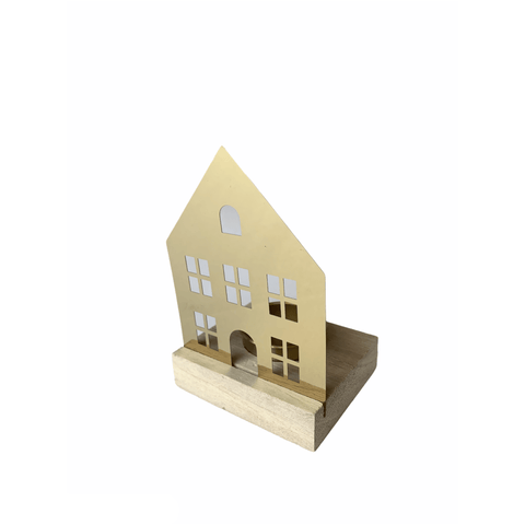 Wood and Golden Metal House-shaped Tealight Holder (Various Shapes!) - Lady of the Lake