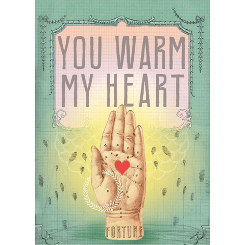 'You Warm My Heart' Greeting Card with Hand, Heart and Glitter Detail - Lady of the Lake