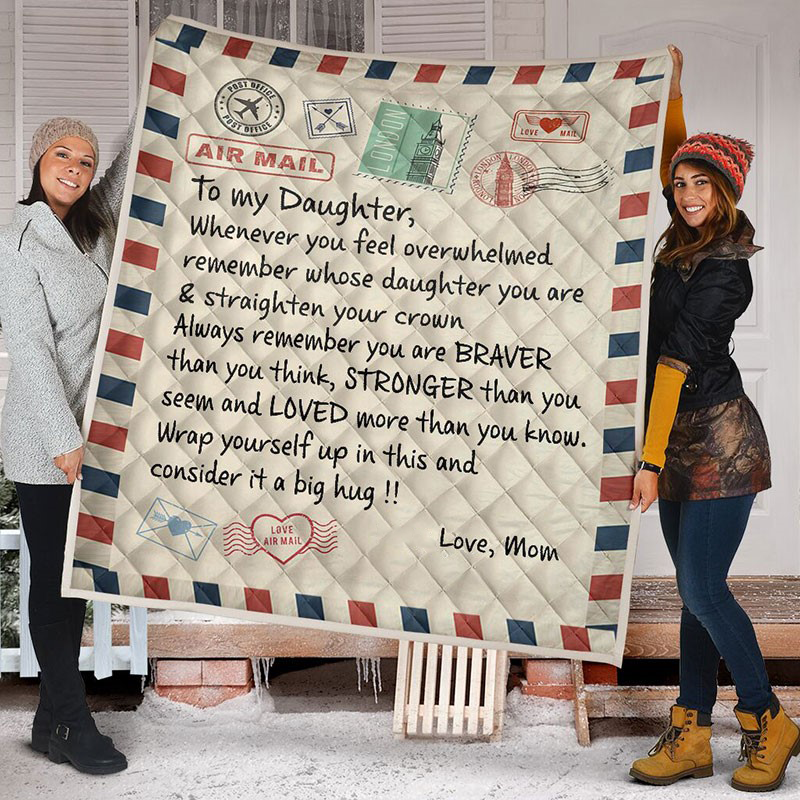 MOM, DAD-DAUGHTER LETTER QUILT Alpha Limitless Mom to daughter / ADULT (59 X 79 INCHES / 150 X 200 CM)
